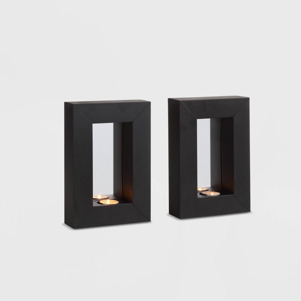 "Image of ""9.5"""" x 6.5"""" 2pc Mirror Tealight Candle Metal Wall Sconces Black - Danya B."""