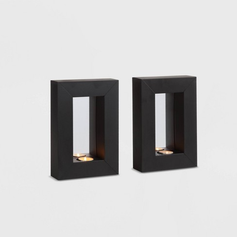 "9.5"" x 6.5"" 2pc Mirror Tealight Candle Metal Wall Sconces Black - Danya B. - image 1 of 3"