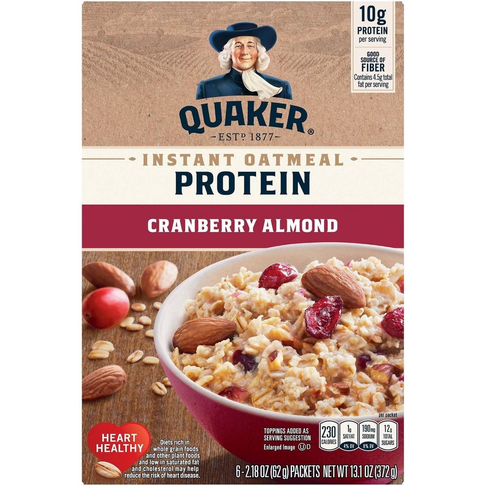 Quaker Protein Cranberry Almond Instant Oatmeal 6ct