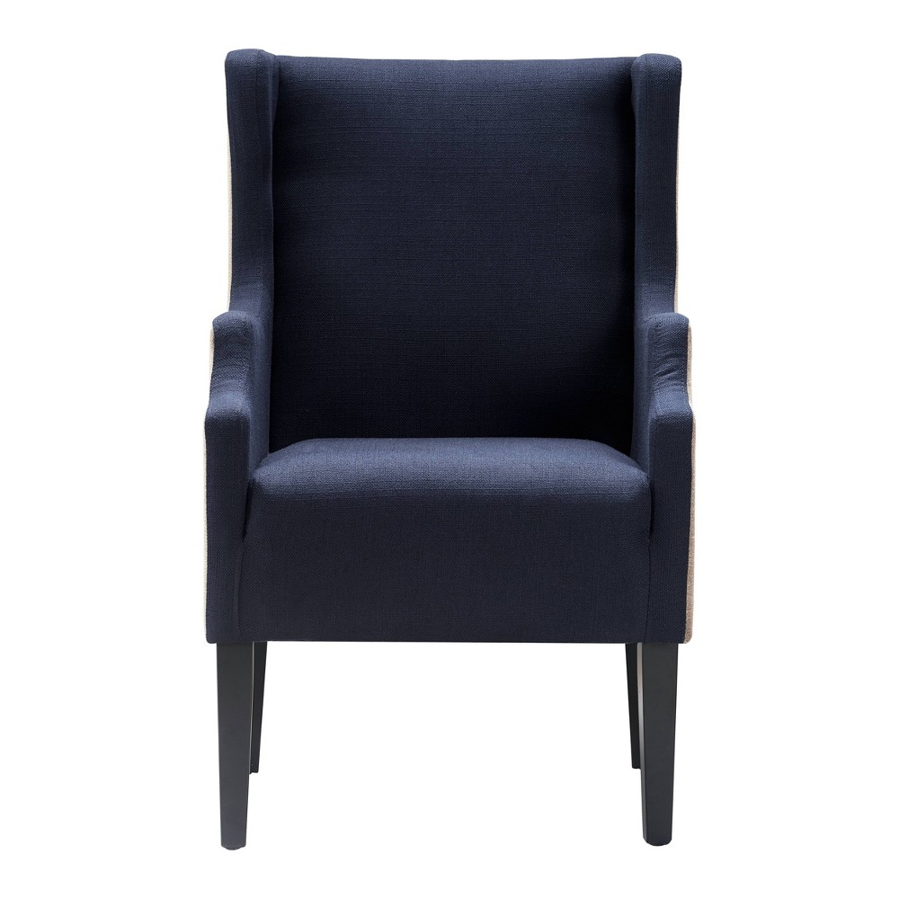 Image of Barton Two Toned Wingback Chair Brown/Navy - Finch, Brown/Blue