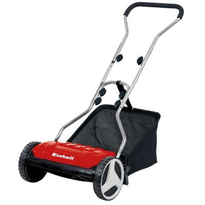 Einhell GE-HM 38 S-F Manual Deluxe 15-Inch 5-Blade High-Quality Steel Reel Mowing System Push Reel Mower, Easily Removable 6.9-Gallon Collection Bag