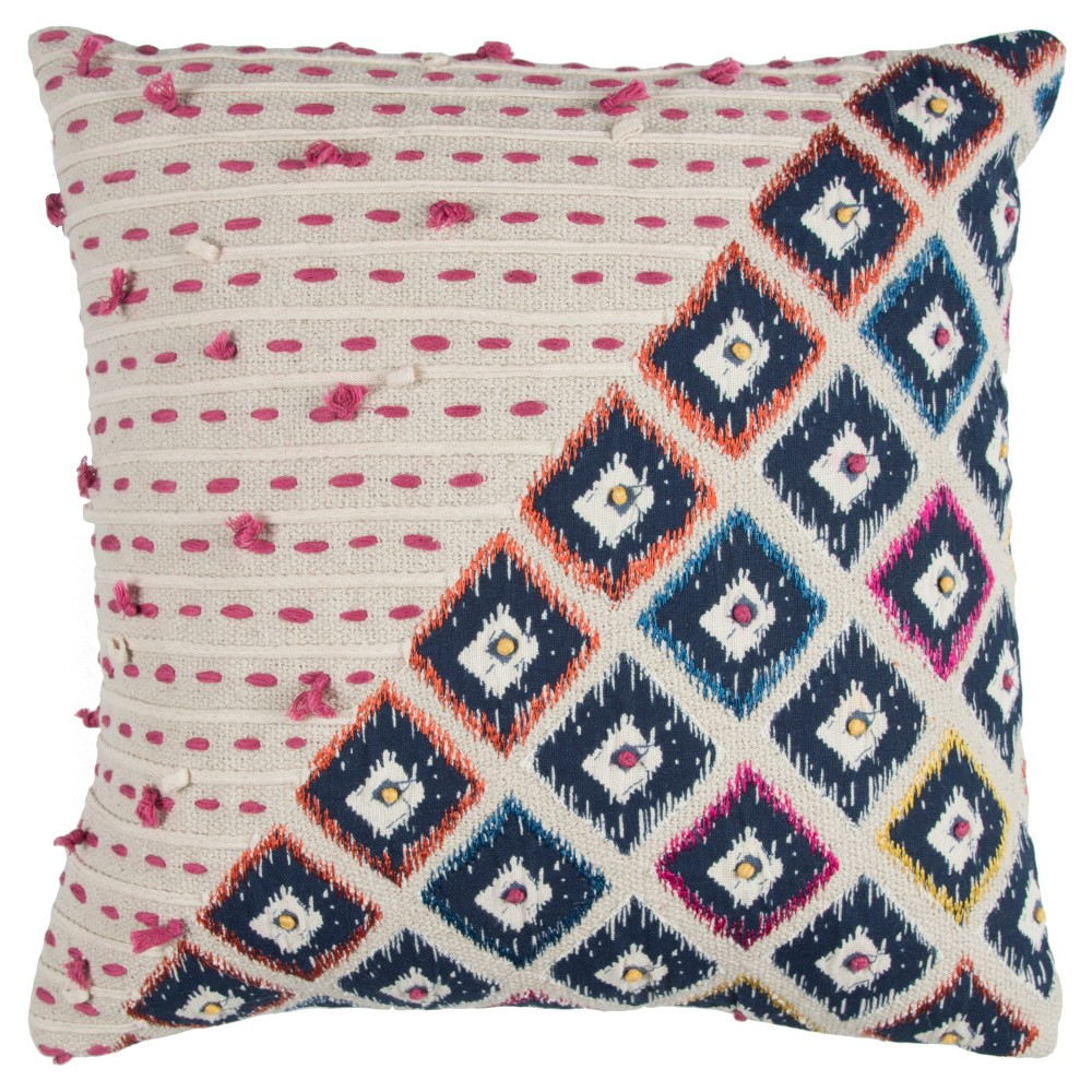 Navy (Blue) Geometric Throw Pillow - Rizzy Home