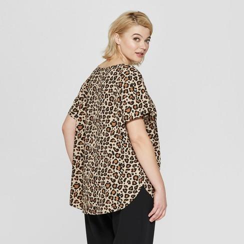 d336ccf0fbde Women's Plus Size Leopard Print Short Sleeve Button Back Top - Ava & Viv™  Brown