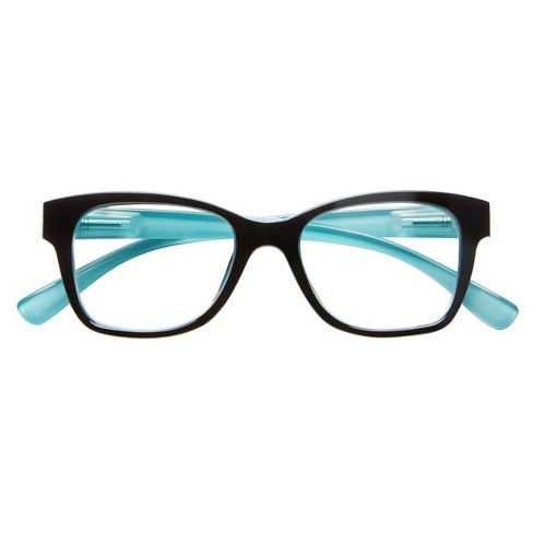 ICU Eyewear Screen Vision Blue Light Filtering Lifted Oval Black Turquoise Glasses - image 1 of 4