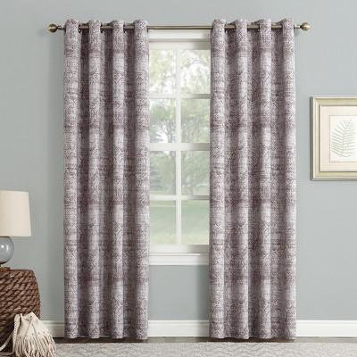 Darren Distressed Global Blackout Lined Grommet Curtain Panel Thistle 50 x84  - Sun Zero