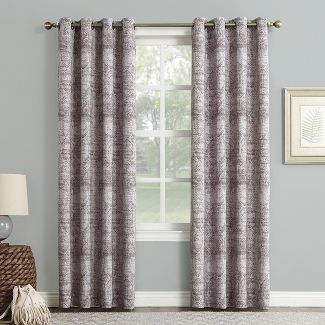 "Darren Distressed Global Blackout Lined Grommet Curtain Panel Thistle 50""x63"" - Sun Zero"