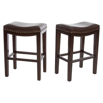 26  Avondale Backless Counter Stool (Set of 2)- Brown Bonded Leather - Christopher Knight Home