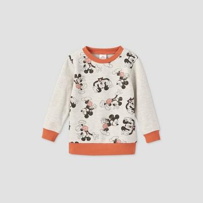 Toddler Boys' Mickey Mouse Fleece Crewneck Sweatshirt - Beige 3T