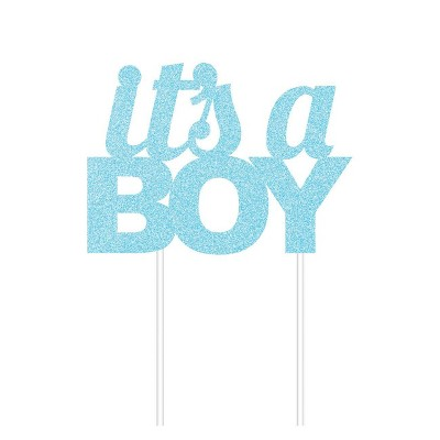 """It's A Boy"" Glitter Cake Topper Party Decoration Blue"