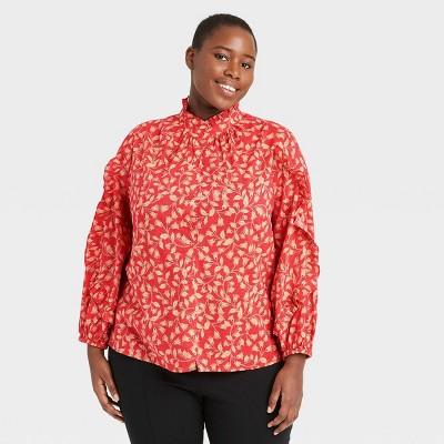Women's Floral Print Balloon Long Sleeve Cascade Ruffle Top - Who What Wear™