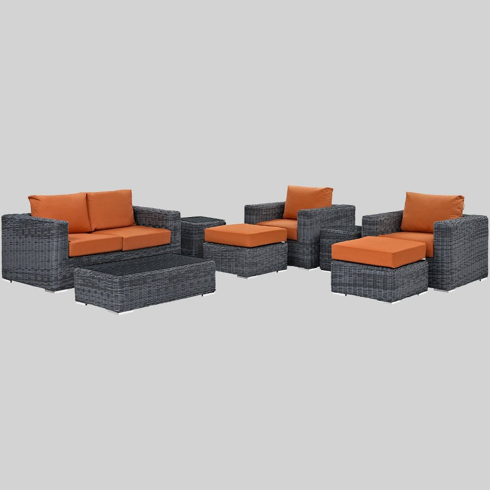 Summon 8pc Outdoor Patio Sectional Set with Sunbrella Fabric - Tuscan - Modway
