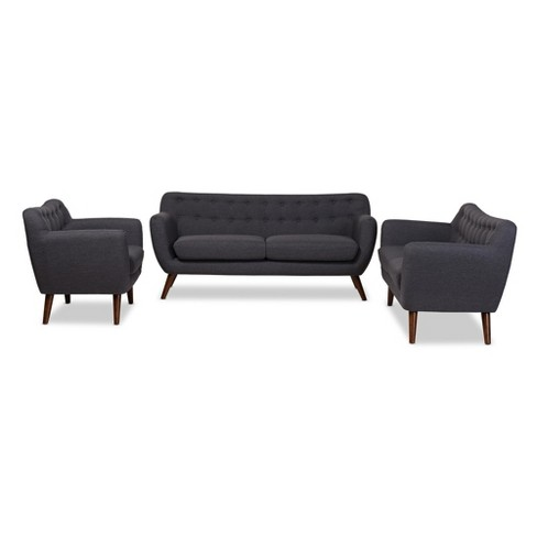 Harper Mid - Century Modern Wood Finish And Fabric Upholstered Button - Tufted 3 - Piece Sofa Set - Baxton Studio - image 1 of 4