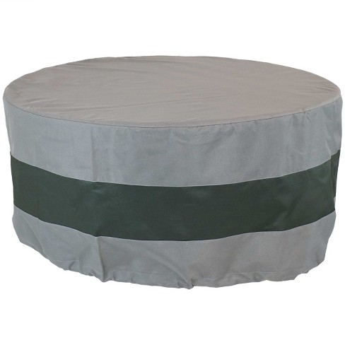 """36"""" Round 2-Tone Outdoor Fire Pit Cover - Gray/Green - Sunnydaze Decor - image 1 of 3"""