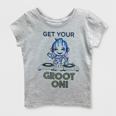 9a37cd3a1845 Girls  Marvel Guardians Of The Galaxy Groot Short Sleeve T-Shirt - Heather  Gray