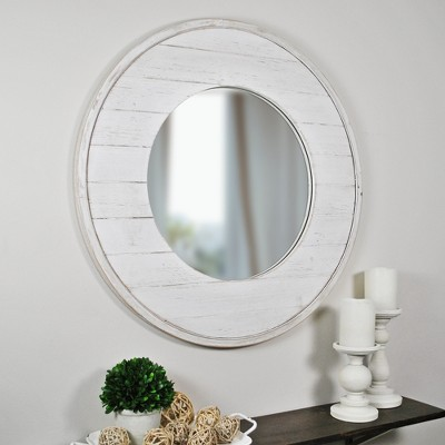 "27"" x 0.5"" x 27"" Ellison Farmhouse Shiplap Mirror Aged White - FirsTime & Co."