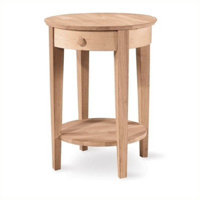 Wood Unfinished Accent Table with One Drawer in Brown-Pemberly Row