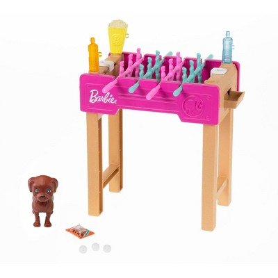 Barbie Mini Game Night Theme Foosball Table Accessory Set