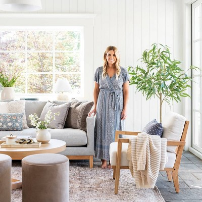 Midvale Velvet And Wood Drum Ottoman, Target Living Room Furniture