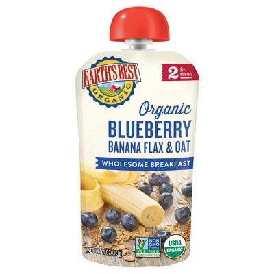 Earth's Best Organic Blueberry Banana Flax & Oat Baby Food Pouch - (Select Count)