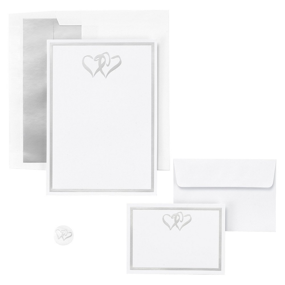 Silver Double Hearts Themed Wedding Invitations (50ct) Invite your friends, family, and close acquaintances to the important events in your life with heartfelt invitations. Invitations and response cards are embossed with an elegant double heart design in silver with a thick silver line framing the entire piece. The complete set contains 50 invitations, 50 lined invitation envelopes, 50 envelope seals, 50 response cards and 50 response envelopes.