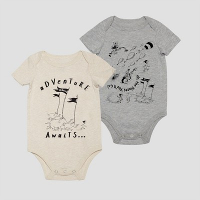 Baby Dr. Seuss 2pk Short Sleeve Bodysuits - White/Gray 0-3M