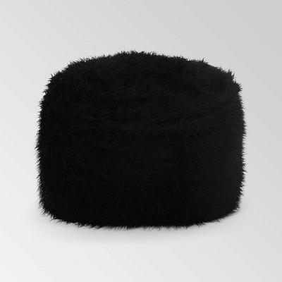 Lachlan Furry Bean Bag Black - Christopher Knight Home