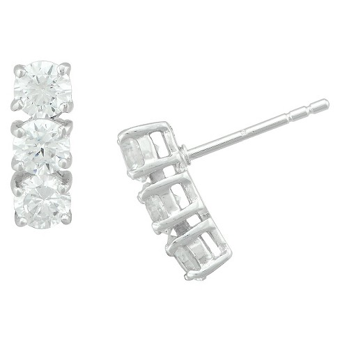 Silver Plated 3-Stone Cubic Zirconia Post Earrings - image 1 of 1