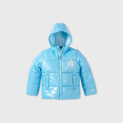 Girls' Frozen Foil Puffer Jacket - Blue