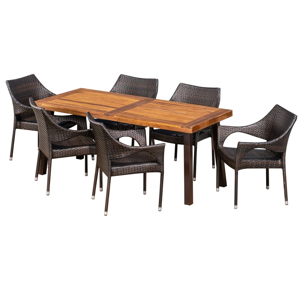 Piper 7pc Acacia & Wicker Dining Set - Teak/Brown (Brown/Brown) - Christopher Knight Home