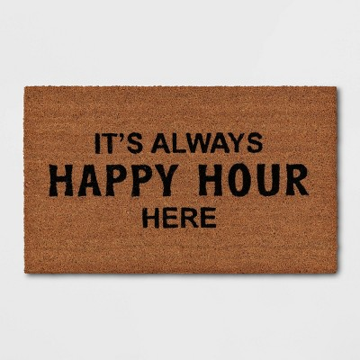 "1'6""x2'6"" It's Always Happy Hour Here Doormat Black - Threshold™"