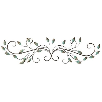 "40"" x 10"" Scroll Leaf Wall Décor Patina - Stratton Home Décor"