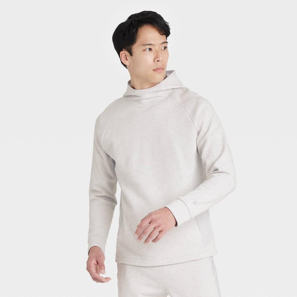 Men 39 S Gym Fleece Hooded Sweatshirt All In Motion 8482 Heather Silver S