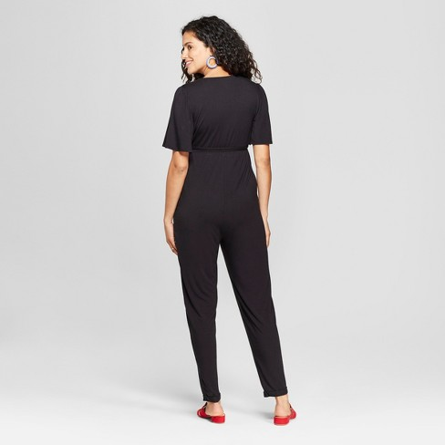 86df5900a75 Maternity Knit Crossover Belted Jumpsuit - Isabel Maternity By Ingrid    Isabel™ Black   Target