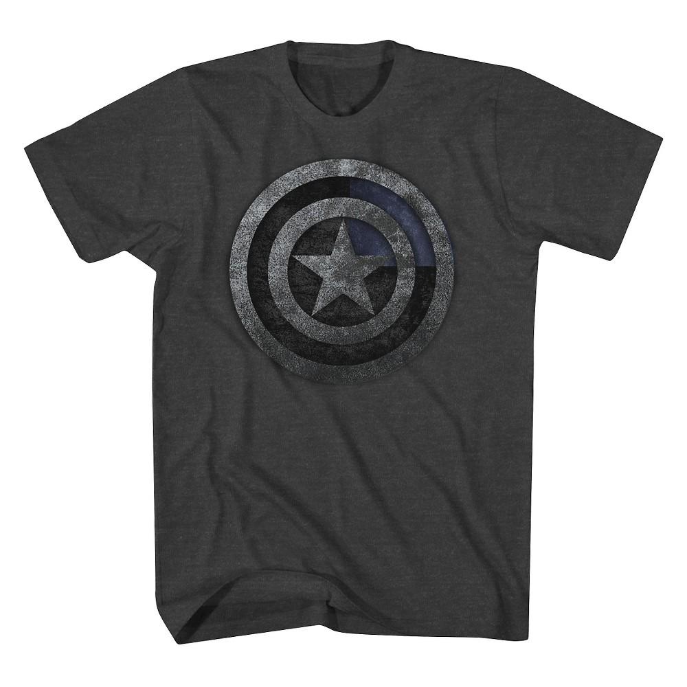 Men's Captain America Shield T-Shirt - Charcoal Heather M, Gray
