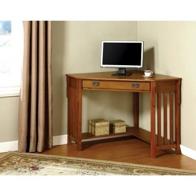 Mezas Mission Style Corner Computer Desk Medium Oak   Sun U0026 Pine