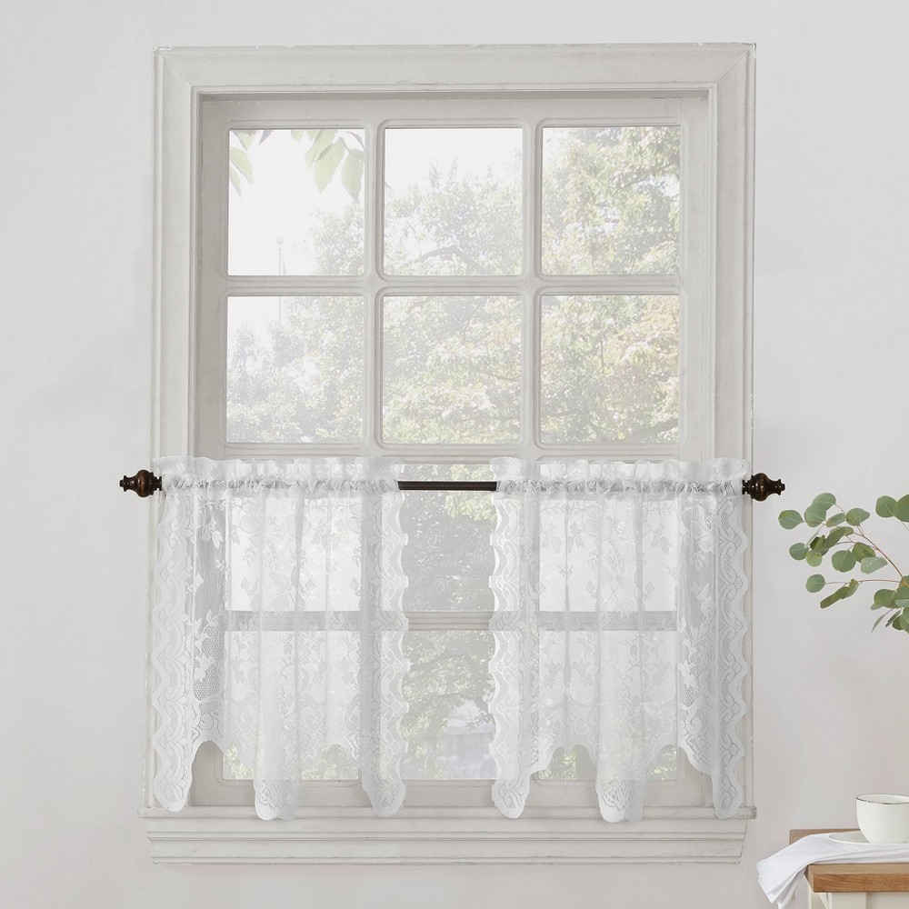 """Image of """"Alison Floral Sheer Lace Kitchen Curtain Swag Pair White (58""""""""x38"""""""") - No. 918"""""""