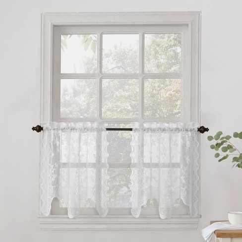 Alison Floral Sheer Lace Kitchen Curtain Tier Pair White (58\