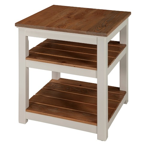 Savannah 2 Shelf End Table Ivory With Natural Wood Top Bolton Furniture