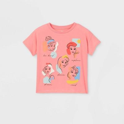 Girls' Disney Princesses Short Sleeve T-Shirt - Pink