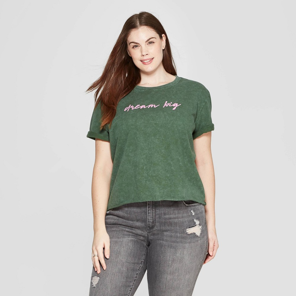 Best Discount Women Plus Size Short Sleeve Crewneck Dream Big Cropped T Shirt Mighty Fine Juniors Green 2X