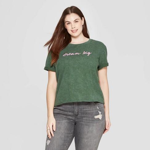 a10a83e7f21 Women s Plus Size Short Sleeve Dream Big Cropped T-Shirt - Mighty Fine  (Juniors ) - Green
