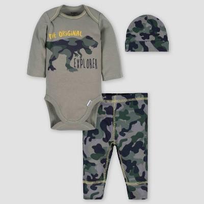 Gerber Baby Boys' 3pc Dino Bodysuit Pants & Cap Set - Green 0-3M