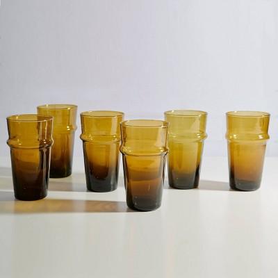 11oz Moroccan Beldi Handblown Drinking Glass Amber - Verve Culture
