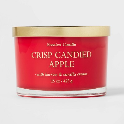 15oz Lidded Glass Jar Solid Red 3-Wick Crisp Candied Apple Candle - Opalhouse™