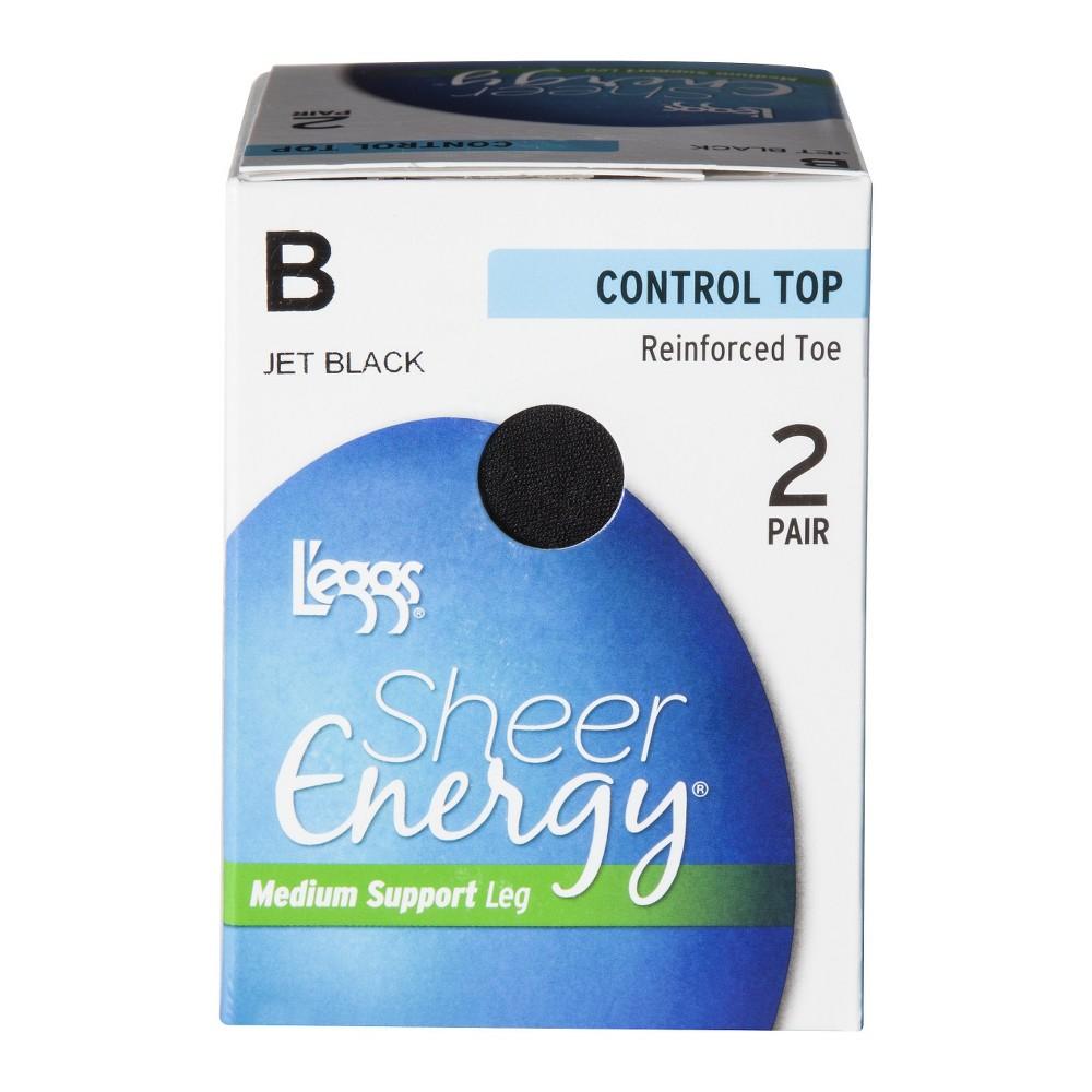 Image of L'eggs 2pk Sheer Energy Women's Control Top Pantyhose - Jet Black Q+, Women's