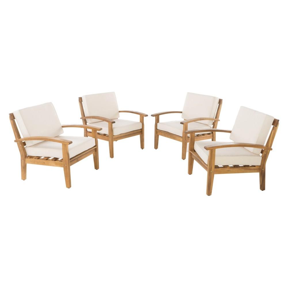 Peyton 4pk Acacia Wood Patio Club Chairs w/ Cushions - Beige - Christopher Knight Home