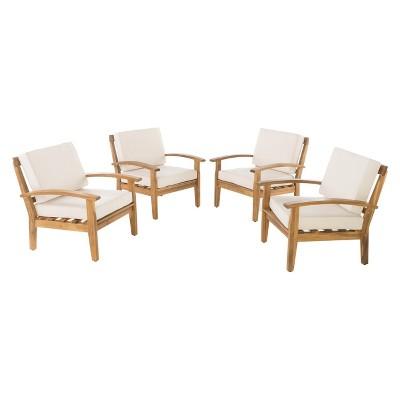 Peyton 4pk Acacia Wood PatioClub Chairs W/ Cushions   Christopher Knight  Home