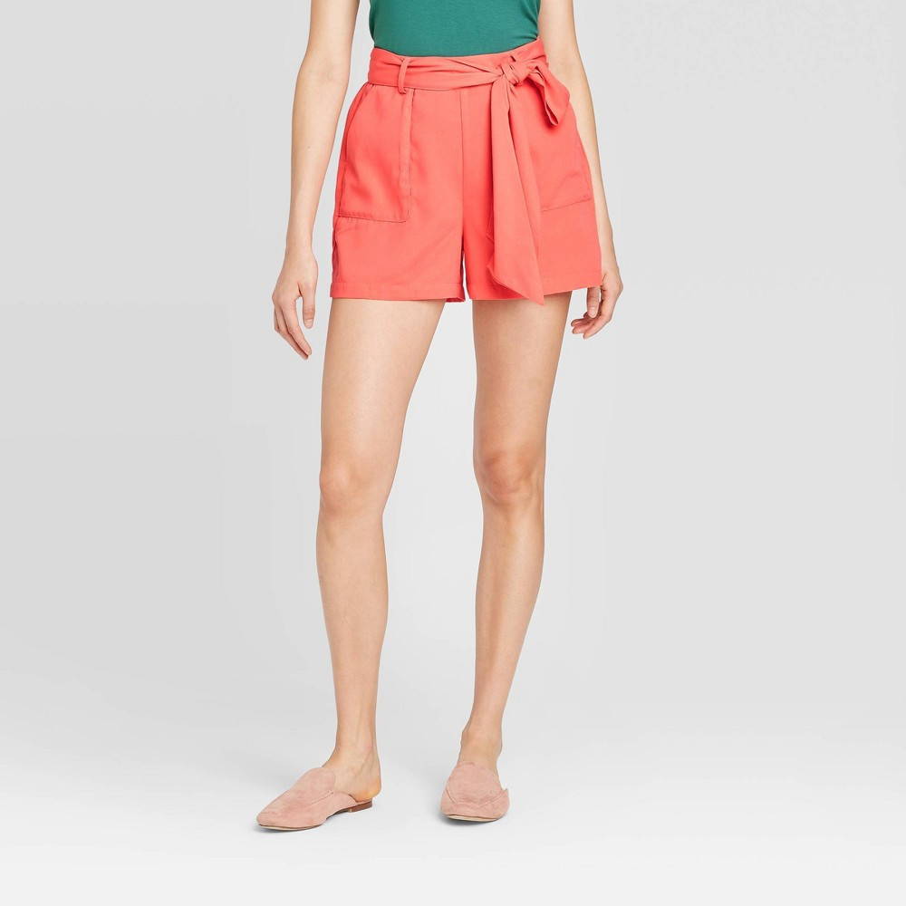 Women's Tie Waist Shorts - A New Day Coral XS, Pink was $19.99 now $13.99 (30.0% off)