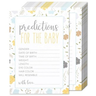 Best Paper Greetings Set Of 50 Baby Prediction Game Cards For Baby Shower & Gender Reveal Party Activity, Floral Design : Target