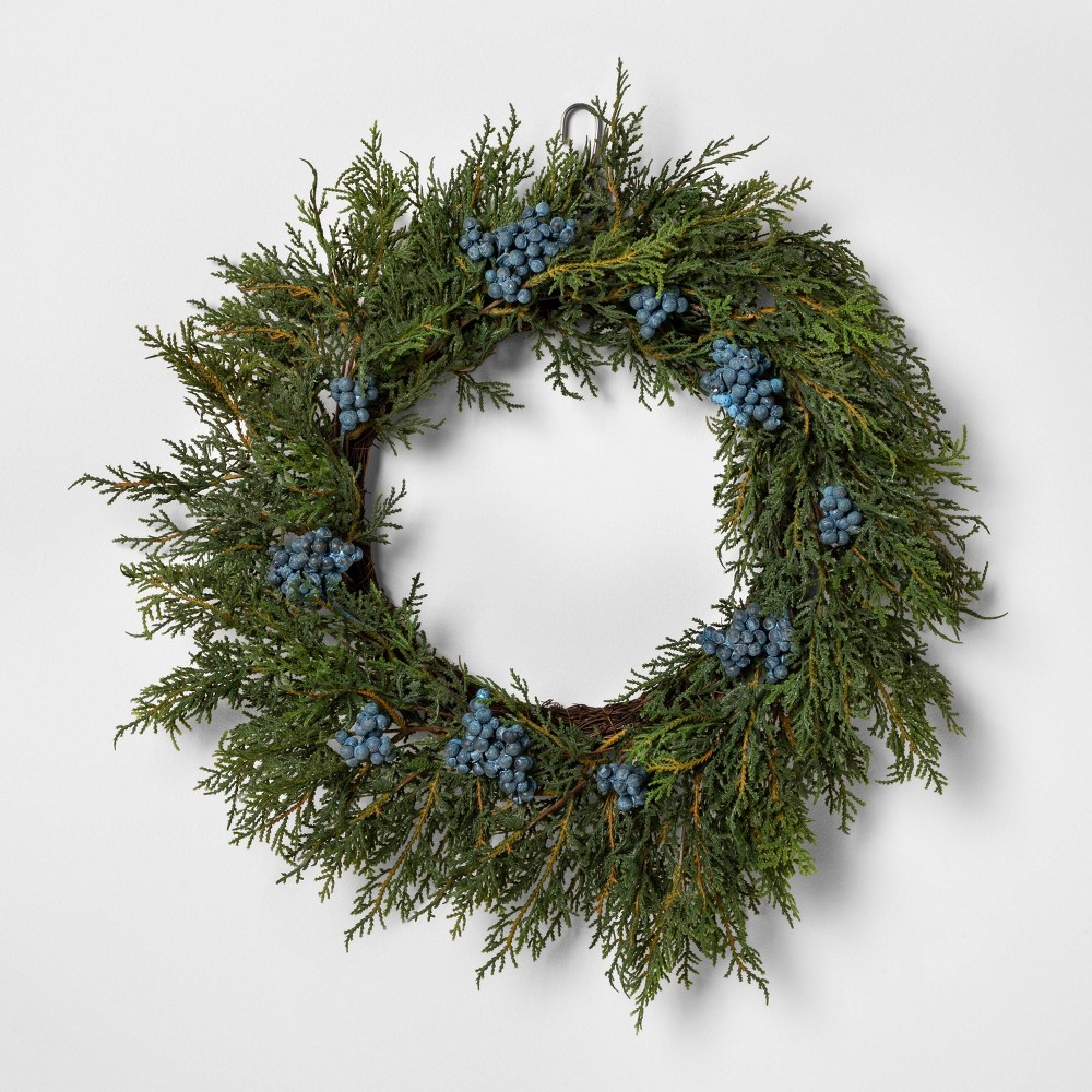 """Image of """"18"""""""" Faux Juniper Wreath with Berries - Hearth & Hand with Magnolia"""""""